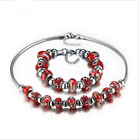 Gorgeous Women's Stainless Steel Red Murano Beautiful Necklace Bracelet Gift