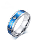 6mm Beautiful Love Forever Topaz Size 7-12 Blue Band Stainless Steel Rings Gift