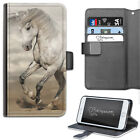 HAIRYWORM GREY AND WHITE HORSE PONY ON SAND LEATHER WALLET PHONE CASE, FLIP CASE