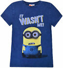 Boys New Minions Top Kids Short Sleeve 100% Cotton Jeans Look T-Shirt Age 3-10 Y
