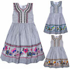 Girls Sleeveless New Stripe Butterfly Dress Kids Summer Cotton Dresses Age 3-11Y