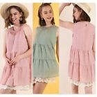 Umgee USA Ladies Solid Sleeveless Tiered Ruffle Keyhole Dress 2 Colors S-L