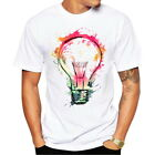 Fashion Mens Short Sleeve T-Shirts Colour Bulb Printed Casual Crew Neck T-Shirts