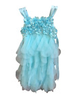 NEW Biscotti Layered Tull Dress with Floral Bodice - AQUA - 7 / 8