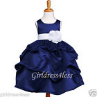 US Seller Navy Blue Wedding Pick-Up Flower Grils Bridesmaids Pageant Party Dress