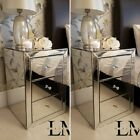 Mirrored Furniture, Glass Bedside Cabinet Table 3 Drawers, Bedroom New, Crystal <br/> 3YR WARRANTY, FREE DELIVERY, 100%+ FEEDBACK, UK SELLER