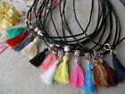 1 X TASSEL WITH SILVER TIBETAN HANGER,LEATHER CORD THONG NECKLACE,CHOOSE COLOUR