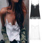 satin camisole tops - Women Sexy Lace Floral Casual Satin Strap Vest Camisole T-Shirt Blouse Tops