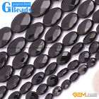 Black Agate Onyx Gemstone Faceted Oval Beads For Jewelry Making Free Shipping 15