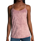 Womens Crushed Velvet Tank Top Camisole Pink Stretch New