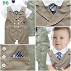 US FREE SHIP NEW Baby Boy tie Tuxedo Wedding Party Outfits Romper 3-24M