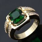 Men's Dazzling Jewelry Green Emerald Yellow Gold Filled New Ring Gift Size 8-11