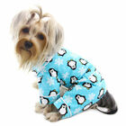 Klippo Dog Clothes Penguins & Snowflake Flannel PJ w/ 2 Pockets TURQUOISE XS-XL