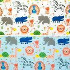 KIDS ZOO ANIMAL ELEPHANT GIRAFFE LION ZEBRA Polycotton Fabric  METRE Fat Quarter