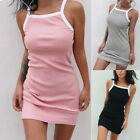 Womens Sexy Sleeveless Spaghetti Strap Dress Slim Bodycon Sundress Mini Dresses