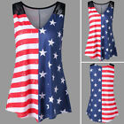 US Women Ladies Sleeveless Vest American Flag Print Lace Insert V-Neck Tank Tops
