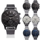 Womens Mens Large Face Stainless Steel Quartz Analog Formal Wrist Watch Watches