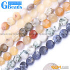 "Natural Assorted Stone Coin Spacer Loose Beads for Jewelry Making Strand 15"" GB"