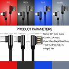 Braided 90 Degree Right Angle Type-C Fast Charging Data Sync Charger Cable Cord