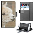 WHITE ALPACA PHONE CASE, LEATHER WALLET FLIP CASE, COVER FOR SAMSUNG, APPLE
