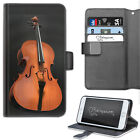 VIOLIN CELLO PHONE CASE, LEATHER WALLET FLIP CASE, COVER FOR SAMSUNG, APPLE ETC