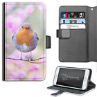 Pink Flower Robin Phone Case, PU Leather Wallet Case, Cover For Samsung, Apple