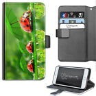 Red Ladybird Phone Case, PU Leather Wallet Flip Case, Cover For Samsung, Apple