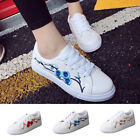 Leisure Women Girl Leather Rose Flower Casual Lace Up Sneaker Trainer Shoes Size