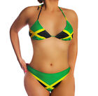 Zeckos Jamaican Flag String Bikini Jamaica Swimsuit U.S. Junior`s Sizes