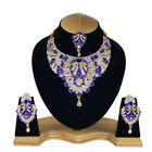 Indian Bollywood Style Fashion Gold Plated Bridal Jewelry Necklace Set, Rns 09