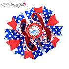 4th of July Hair Bow, Patriotic Baby Girl Bow, Firecracker Star Hairbow Red Blue
