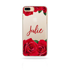 PERSONALISED INITIALS FLOWER IPHONE 6/7/8 PLUS/X CASE CLEAR HARD COVER FOR APPLE