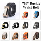 waist belts fashion - Fashion Men's Belts Leather H Frame Buckle Waist Belt Waistband Silver Gold