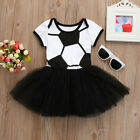 Toddler Infant Baby Girl Football Print Romper Tulle Tutu Princess Dress Outfits