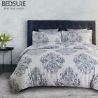 Bedsure Damask Floral Duvet Cover Set Grey Duvet Cover Zipper Bedding Set 3pcs  image