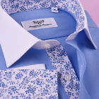 Blue White Contrast Cuff & Collar Floral Inner Lining Shirt Cotton Fabric