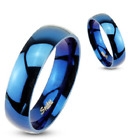 Stainless Steel Glossy Mirror Polished Blue IP Dome Band Ring Size 9-14