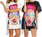 Womens Ice Cream Face T Shirt Dress Ladies Tassel Dresses Size 8 10 12 14 New