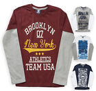 Boys T Shirt New Kids Long Sleeved Overlay Cotton Slogan Tops Ages 7 - 13 Years