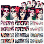 2 Sheets Nail Water Decals Sexy Skull Halloween Nail Art Transfer Stickers Tips