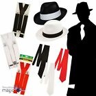 Gangster Hat Braces Tie Bugsy Spiv 20s Capone 1920's Fancy Dress Costume Set