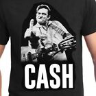 JOHNNY CASH T-shirt Man In Black Flippin Bird Finger Tee Adult S-5XL Black New image