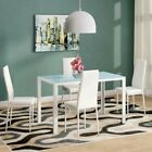 5 Piece Dining Sets Dining Table and Chairs Glass Metal Kitchen Room Furniture