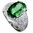 Platinum Diamond and Green Tourmaline Ring