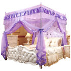 Princess 4 Corner Square Mosquito Net Bed Canopy Bedroom Decoration Netting image