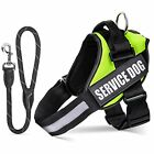Service Dog Vest Harness 2 Removable Hook Loop Patches Rope Dog Leash Reflective