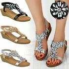 Womens Ladies Low Wedge Heel Sandals Diamante Party Wedding Shoes Stretch Size