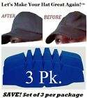 3Pk. Caps Crown Inserts| Fitted Cap Support| Hat Liner Shaper | Hat Storage Aide
