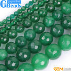 Green Jade Faceted Polish Round Beads For Jewelry Making DIY Free Shipping 15""