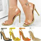 Womens Nude Perspex Clear High Heel Party Sandals Stilleto Barely There Size